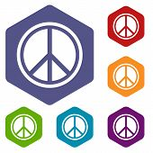 Sign Hippie Peace Icons Set Rhombus In Different Colors Isolated On White Background poster