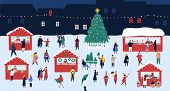 Christmas Market Or Holiday Outdoor Fair On Town Square. People Walking Between Decorated Stalls Or  poster