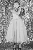 Child Girl In Stylish Glamour Dress, Elegance. Look, Hairdresser, Makeup. Fashion Model On Silver Ba poster