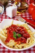 Italian macaroni pasta with tomato sauce and oregano