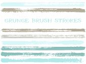 Blue Grey Ink Brush Strokes Isolated Elements. Set Of Paint Lines. Abstract Stripes, Textured Paintb poster
