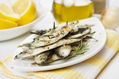 Grilled sardine fish served with lemon and rosemary