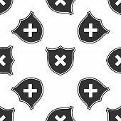 Shield And Cross X Mark Isolated Icon Seamless Pattern On White Background. Denied Disapproved Sign. poster