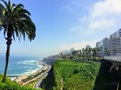The Beautiful Views Of Lima, Peru, Looking Out On The Pacific Ocean From The Miraflores Boardwalk. poster