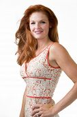 image of red hair  - Portrait of a beautiful long red hair woman with blue eyes over white - JPG