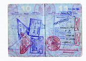 Hi res análisis de unos Estados Unidos pasaporte con visa Asia, s