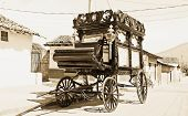stock photo of hearse  - funeral carriage granada nicaragua in monochrome - JPG