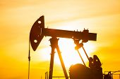 In The Evening, The Outline Of The Oil Pump. The Oil Pump, Industrial Equipment. Oil Field Site, Oil poster