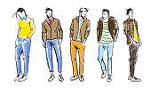 Fashion Man. Fashion Men Sketches On A White Background. Autumn Men. poster