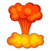 Explosion Of Nuclear Bomb Icon. Cartoon Illustration Of Explosion Of Nuclear Bomb Icon For Web poster