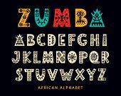 Vector Hand Drawn African Tribal Font. Folk Scandinavian Script. English Ethnic Alphabet. Decorative poster