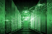 Binary Code Particles And Neon Glowing Cyber Wave. In Modern Server Room Big Data Structure. Interne poster
