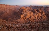 Mount Sinai in early morning - also known as Jebel Musa (2285 m) on Sinai Peninsula, Egypt
