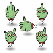 Severed Zombie Hand Gesture Set. Funny Cartoon Halloween Vector Sticker Pack. Collection Of Gestures poster