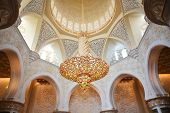 Decoration of Sheikh Zayed Mosque and biggest in the world chandelier. Abu Dhabi, United Arab Emirates