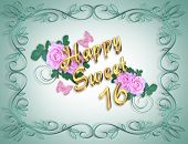 stock photo of sweet sixteen  - Image and illustration composition for Sweet 16 Birthday card or invitation - JPG