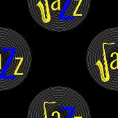 Jazz Concept. Vinyl Record And The Word Jazz. Letter J - Saxophone. Seamless Pattern. Blue And Yello poster