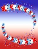Red, White And Blue Stars On Gradient Background