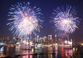 NEW YORK CITY - JUL 4: Manhattan Independence Day firework show in Hudson River as annual traditiona