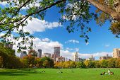 New York City Manhattan skyline panorama viewed from Central Park with cloud and blue sky and people