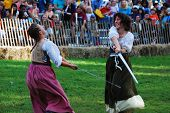 NEW YORK CITY, NY - OCT 3: Women fight in New York Medieval Festival. October 3, 2010 in Ft. Tryon park; Manhattan, New York City.