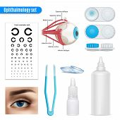 Ophthalmology Vision Correction Eye Anatomy Realistic Set With Exam Table And Contact Lenses Accesso poster