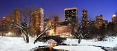 stock photo of new york night  - New York City Manhattan Central Park panorama in winter with snow - JPG