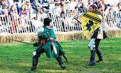 NEW YORK CITY, NY - OCT 3: Men fight in New York Medieval Festival. October 3, 2010 in Ft. Tryon park; Manhattan, New York City.