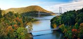 Hudson River valley panorama in Autumn with colorful mountain and Bridge over Hudson River.
