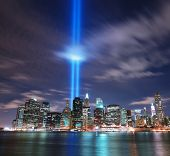 NEW YORK CITY, NY - SEP 11: Light beams are lit at the site in memory of World Trade Center destroye