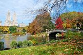 New York City Manhattan Central Park panorama in Autumn lake with bridge skyscrapers and colorful tr