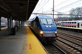 TRENTON, NEW JERSEY - APRIL 3: Amtrak train is arriving at platform on April 3, 2011 in Trenton, New