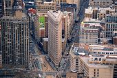 NEW YORK CITY, NY - MAR 30: Flatiron Building aerial view on March 30, 2011 in New York City. Flatiron building designed by Chicago's Daniel Burnham was designated a New York City landmark in 1966.