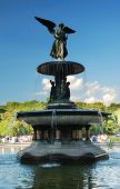 Angel of the Waters statue as the distinct landmark and symbol of Manhattan Central Park, New York C poster