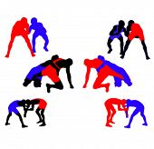 Wrestling vector silhouettes 3