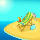 Sea Rest Concept Lounge. Cartoon Illustration Of Sea Rest Concept For Web poster