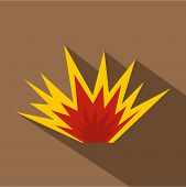 Nuclear Explosion Icon. Flat Illustration Of Nuclear Explosion Icon For Web poster