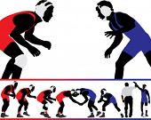 stock photo of wrestling  - Set of wrestling action silhouette illustrations - JPG