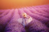 Woman In Lavender Flowers Field At Sunset In Purple Dress. France, Provence. Concept Travel. poster