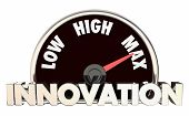 Innovation Level Rising Low High Maximum Speedometer 3d Illustration poster