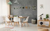 Open Space Living And Dining Room Interior With Wooden Furniture, Stylish Decor And A Plant Leaves G poster