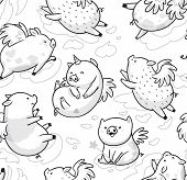 Seamless Pattern With Cute Mini Piggy Soaring In The Clouds. Ideal For Coloring. Ink Illustration poster