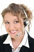 Beautiful Smiling Customer Service or Sales Representative.  Curly blonde hair and a great smile.  S