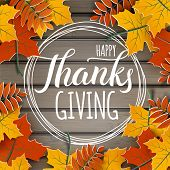 Happy Thanksgiving Holiday Banner With Congratulation Text On Frame. Autumn Tree Leaves Border On Wo poster
