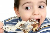 foto of possum  -  Close up of a two year old boy eating possum pie with a big silver spoon - JPG