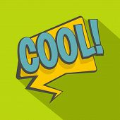 Cool, Speech Bubble Icon. Flat Illustration Of Cool, Speech Bubble Icon For Web Isolated On Lime Bac poster