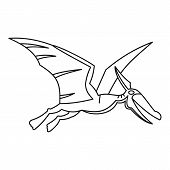 Winged Dinosaur Icon. Outline Illustration Of Winged Dinosaur Icon For Web poster