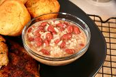 Red beans and rice in kitchen or restaurant