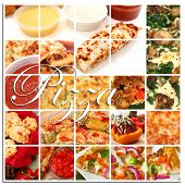 Various pizza and pizza ingredient foods together in a collage.  Pizza, pizza sticks, pizza rolls, t