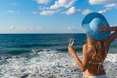 Sexy Woman In Bikini Looking At The Sea.